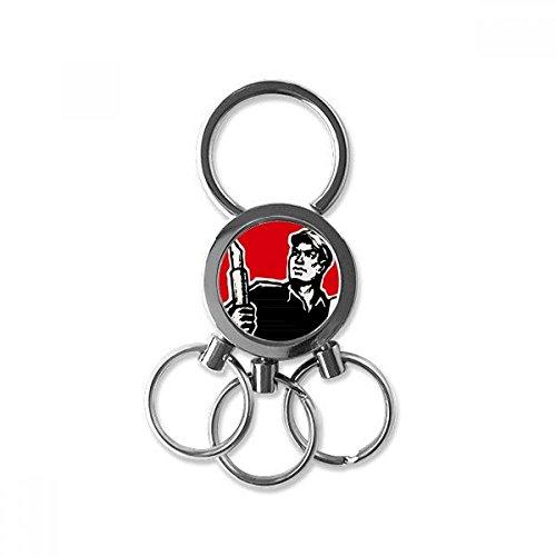 Doe-het-zelf pen boek muts rood patriotisch roestvrij staal metaal sleutelhanger ring auto sleutelhanger sleutelring clip cadeau