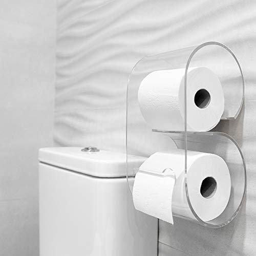 Portarrollos de papel higiénico de metacrilato de diseño y fácil instalación. Accesorio decoración baño soporte de rollo para pared del cuarto de baño. Dispensador de papel para WC. (Transparente)