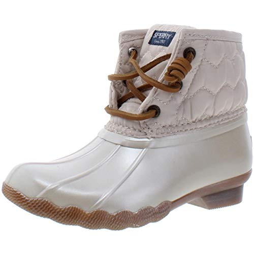 Sperry Girls' Saltwater Boot Ankle, Pearlized Ivory, 7 M US Toddler