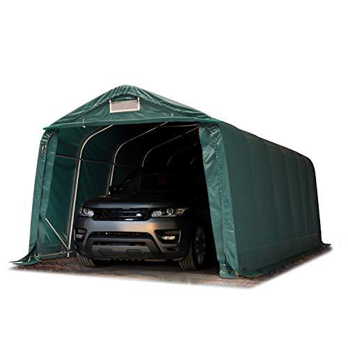 TOOLPORT Tente-Garage carport 3,3 x 7,2m d'élevage abri agricole Tente de Stockage bâche env. 550g/m² Armature Solide Vert Fonce