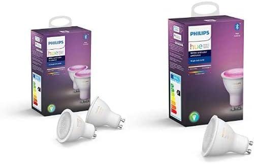 Philips Hue 3 Ampoules LED Connectées White & Color GU10 Compatible Bluetooth, Compatible avec Alexa