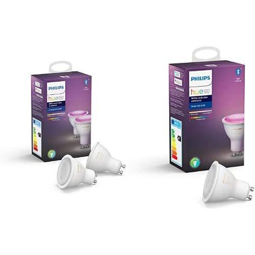 Philips Hue 3 Ampoules LED Connectées White & Color GU10 Compatible Bluetooth,...