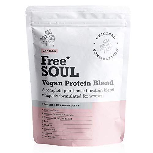 Free Soul Vegan Protein Powder | Formulated for Women | 600g | 20g Protein | Added Nutrients | Gluten & Soy Free Plant Based Nutrition Protein Shake | Pea and Hemp Isolate Protein (Vanilla)