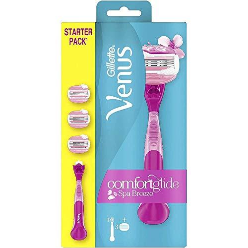 Gillette Venus ComfortGlide Breeze Spa Rasierer Damen mit Rasiergelkissen für Hautschutz, Damenrasierer + 3 Rasierklingen
