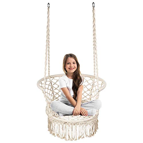 COSTWAY Hammock Swing Chair, Hanging Cotton Rope Macrame Chairs for Outdoor & Indoor, Garden Patio Balcony Living Room Tassels Swing Seat, Max. Load Capacity 160kgs