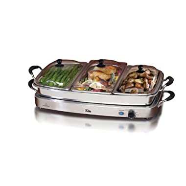 Elite Platinum EWM-9933 Maxi-Matic 2.5 Quart 3 Tray Buffet Server, Stainless Steel