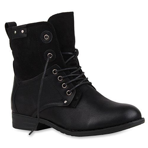 Damen Stiefeletten Profilsohle Worker Boots Leder-Optik Schnürstiefeletten Camouflage Verlours Schuhe 107801 Schwarz Black 38 Flandell