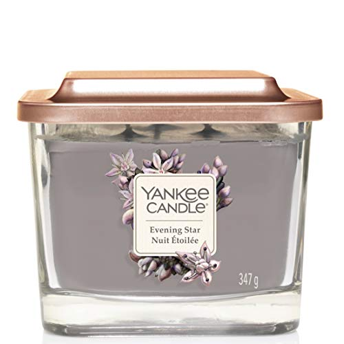 Yankee Candle Elevation Collection piattaforma con coperchio, con stoppini, quadrato, candela profumata, Evening Star