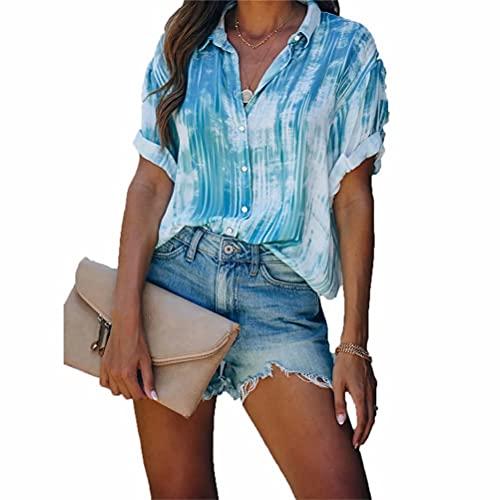 ZFQQ Camisa de Gasa con Botones Estampados para Mujer de Primavera y Verano