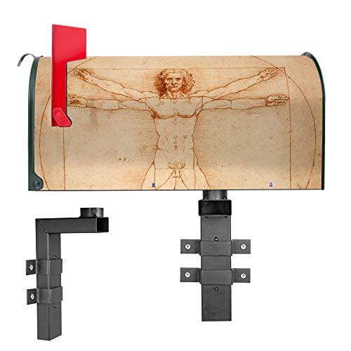 BANJADO US Mailbox | Amerikanischer Briefkasten 51x22x17cm | Letterbox Stahl Grün | mit Motiv Vitruvianische Figur | inklusive Wandhalterung
