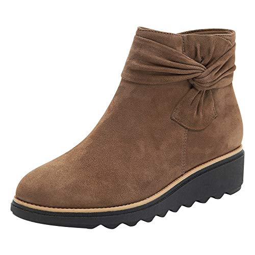 ZYAPCNGN Womens Warm Snowboots Ankle Booties Shoes Soft Insole PU Leather Short Boots Shoes Zipper Wedges Shoes Khaki