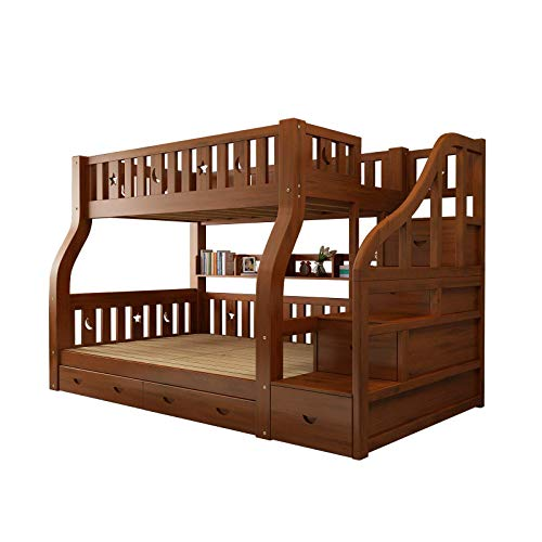 Slatted bed frame (roll-out) included,Quick and easy assembly,Solid Wood Bunk Bed 200x120cm - Solid Beech Wood Natural Finish Wi