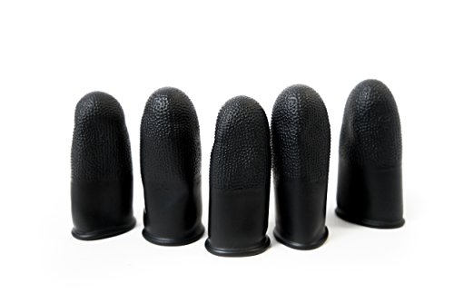 Bertech Static Dissipative Finger Cots, Powder Free, Black, 16 Mil Thick, Small, Textured Surface, Heavy Duty (Bag of…