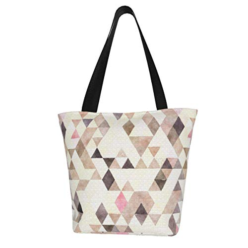 Personalisierbare Canvas-Tragetasche, Wasserfarben, Hellbraun, Mokka, Creme, Pink, Dreieck-Muster, waschbare Handtasche, Umhängetasche, Einkaufstasche für Frauen