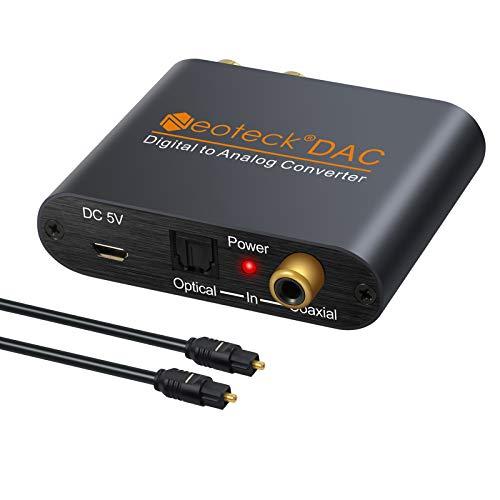 Neoteck DAC Convertitore Adattatore di Alluminio da Digitale SPDIF Coaxial Toslink ad Analogico Stereo L/R RCA 3.5mm Jack Audio per PS3 HD DVD PS4 Sky HD Plasma Blu-ray Home Cinema Sistema