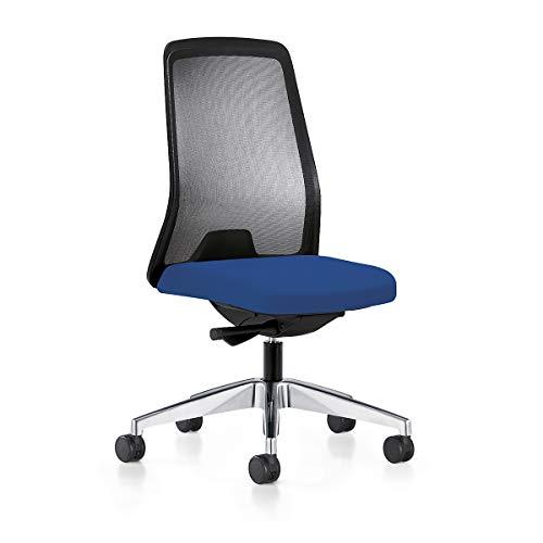 interstuhl Operator-Drehstuhl EVERY, Netz-Rückenlehne schwarz Gestell poliert, mit harten Rollen enzianblau, Sitztiefe 430 mm