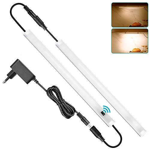 SOAIY 2x30cm Luz doble bajo mueble cocina con sensor movimiento, Iluminacion ajustable led cocina bajo mueble, luz cocina bajo armario con enchufe, Blanco Cálido 3000K