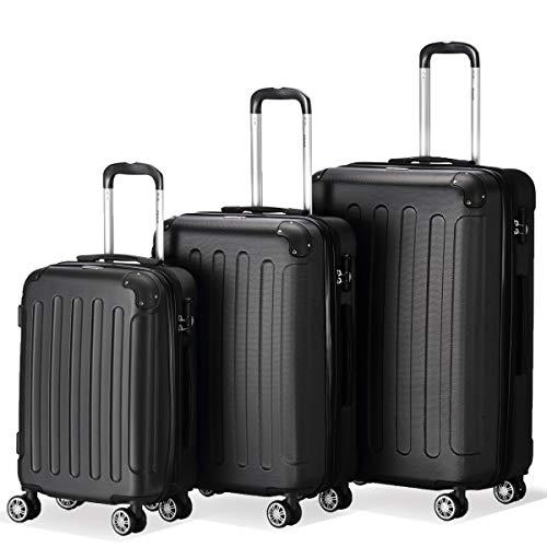 Flexot 2045 3er Reisekoffer Set - Farbe Schwarz Größe M L XL Hartschalen-Koffer Trolley Rollkoffer Reisekoffer 4 Rollen