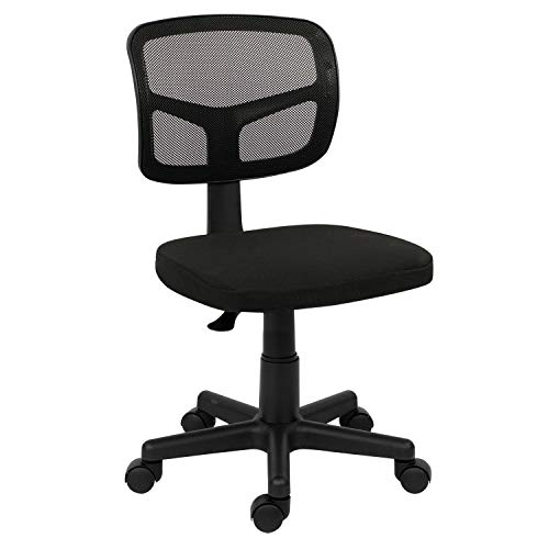 Office chair for Home,Swivel Desk Chair for Bedroom Adjustable Height Mesh Chair Home Office Chair no Arms Computer Desk Chair for Kids/Adults,Removable Padded Seat,Home/Office Furniture (Black)