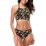 Delerain Traje de baño de cuello alto para mujer, colorido conchas marinas sol y piñas, conjunto de 2 piezas, S-XXL - - X-Large