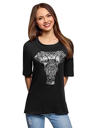 oodji Ultra Mujer Camiseta Holgada con Estampado, Negro, ES 34 / XXS