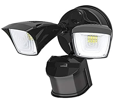 Hyperikon Outdoor Security Light, 25W LED Flood Light Fixture Wide Range Motion Sensor, 2 Head, Black