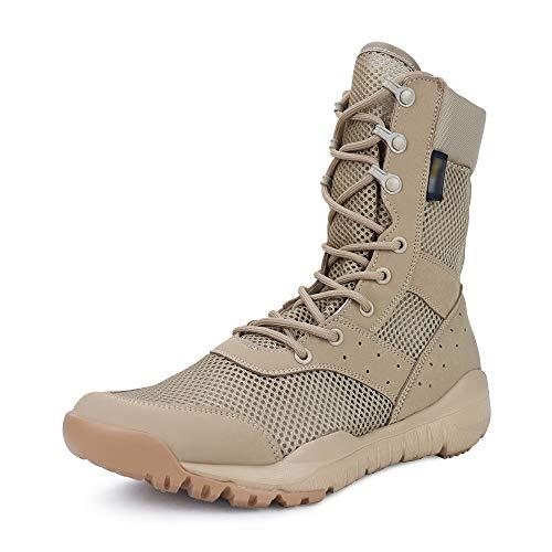 QUNLON Botas Transpirables Antideslizantes Resistentes al Desgaste tácticas Militares para Hombres Zapatos de Trabajo Ligeros de Combate en la Selva Beige 45EU