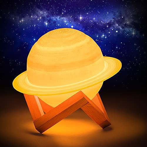 Planetas Lampara,15CM Saturno Lámpara,Planetas Fluorescentes 16 colores,Led Saturno Lámpara con soporte de madera y red para colgar, Control remoto y táctil, Decoración nocturna y regalo para