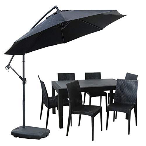 ガーデンテーブル90×150cm・チェア6脚・パラソルセット LA・TAN ひじなし (C362-7C-S1)