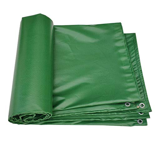 WHAIYAO Tarpaulin Waterproof Heavy Duty Outdoor Rain Cloth Truck Garden Furniture PVC Tarpaulin, 16 Sizes (Color : Green, Size : 5x6M)