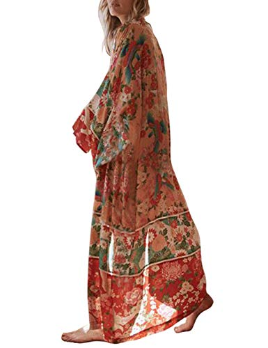 Damen Chiffon Strand Badeanzug Bikini Cover Up Sommer Floral Lang Kimono Cardigan Kleid Gr. onesize, Stil 17