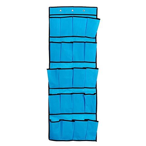 ACAMPTAR 20 Bolsillos Bolsa de Almacenamiento Colgante No Tejida DetráS de Las Puertas Zapatos para el Hogar Bolsa de OrganizacióN con Ganchos Organizador de Ahorro de Espacio Azul
