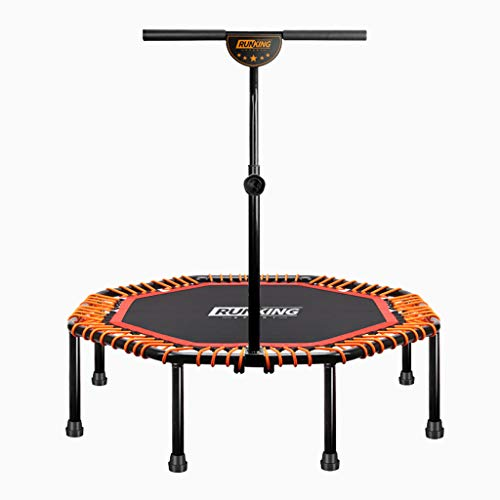 PIG-GIRL Mini Kids Trampoline,Adjustable Handrail And Safety Padded Cover Foldable Bungee Rebounder Indoor,2-In-1 Lean Aerobic