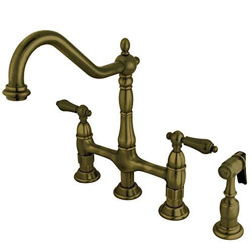 Kingston Brass KS1273ALBS Heritage 8-Inch Kitchen Bridge Faucet with...