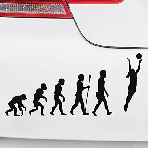 Motoking Autoaufkleber - Lustige Sprüche & Motive für Ihr Auto - Evolution Volleyball - 25 x 11,4 cm - Orange Seidenmatt