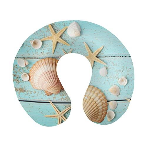 Summer Blue Wooden Seashell Starfish En Forma de U Almohada para el Cuello de Viaje de Espuma viscoelástica, Almohada de Apoyo para el Cuello de la Cabeza para avión, automóvil, Oficina, Dormir