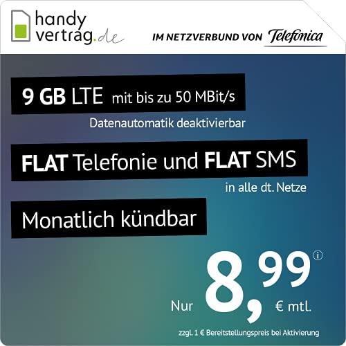handyvertrag.de LTE All 9 GB - monatlich kündbar (Flat Internet 9 GB LTE mit max. 50 MBit/s mit deaktivierbarer Datenautomatik, Flat Telefonie, Flat SMS und EU-Ausland, 8,99 Euro/Monat), 4260222788193