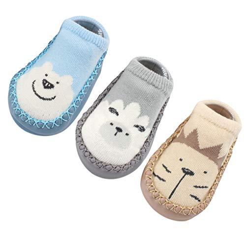 Happy Cherry 3Pcs Calcetines Prewalker para Recien Nacido Antideslizante Zapatillas de Piso Estampado Dibujo Animado Algodón 11cm 0-6 Meses Gris
