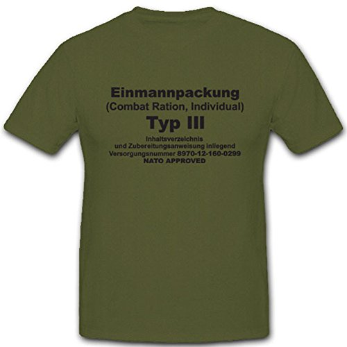 EPA eenmannpack type 3 Bundeswehr militair voedsel eten dozenvoer Esbit - T-shirt #4977