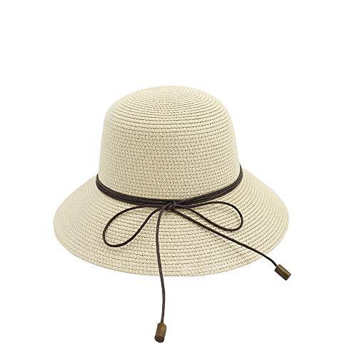 U/D HOUJHUS Sombrero for el Sol Sombrero de Paja Plegable for Mujer Sombrero de Paja Hecho a Mano Sombrero de Verano de Ganchillo Bowknot de Paja Gorra portátil (Color : Caqui, Size : 56-58cm)