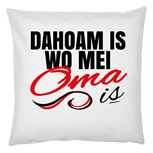 Mega-Shirt Geschenk für Oma Kissen mit Füllung Dahoam is wo MEI Oma is Polster für Oma Geburtstagsgeschenk Großmutter Omi