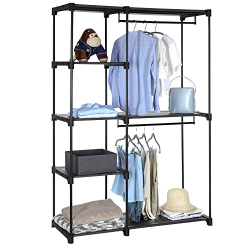 SONGMICS Freestanding Closet Organizer, Portable Wardrobe with Hanging Rods, Clothes Rack, Storage Organizer, Cloakroom, Study, Stable, 44.1 x 16.9 x 65 inches, Black URYG24BK