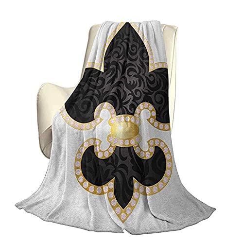 Fleur De Lis Mikrofaser-Plüsch-Polyester-Decke Royal Legend Lily Throne France Empire Family Insignia of Knights Image High-End-Leichtgewichtige antistatische Decke B60 x L50 Zoll Schwarz