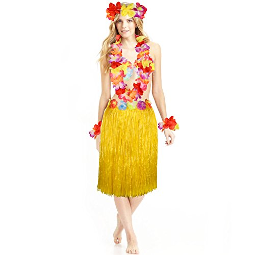 Disfraz hawaiano de Hula Luau con falda de hierba con flor Leis para nias y mujeres Luau Hawaii accesorio de fiesta