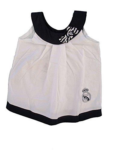 Real Madrid FC Baby Mädchen (0-24 Monate) A-Linie Kleid Weiß Schwarz, A-Linie, RM58, Weiß, RM58 36-42 Monate