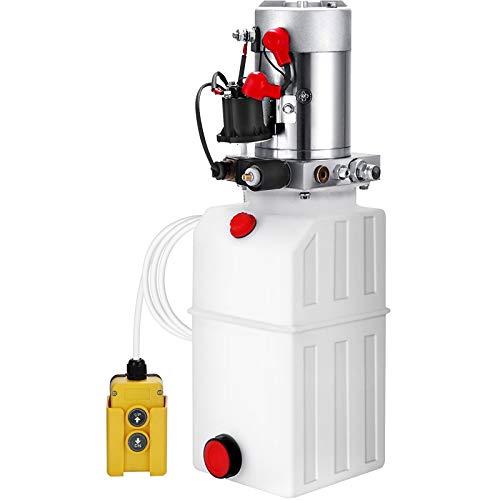 VEVOR 6L Hydraulikpumpe Nenndrehzahl 2850R / MIN Hydraulikaggregat Einfachwirkend Kipperpumpe mit Tank aus Kunststoff 4,5M Kabelfernbedienung