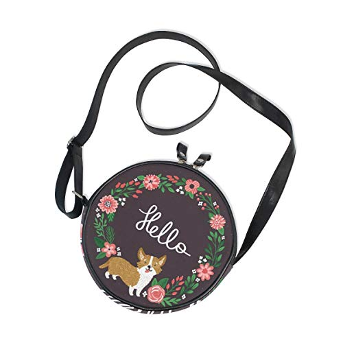 Hello Cute Corgi In Wreath Round Crossbody Bag Circle Purse Messenger Bag
