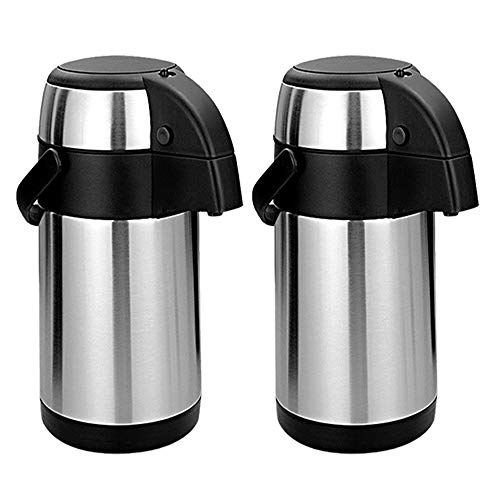 3L / 3000ml Stainless Steel Airpot Air Pot Flask Hot Cold Tea Coffee Pump Action Vacuum Flask by Denny International (Set of 2 Airpot)