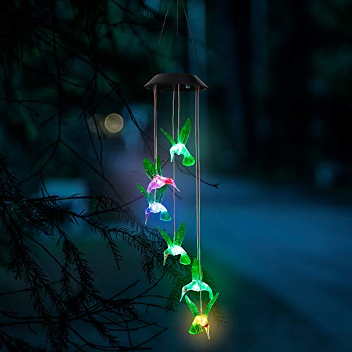 GloBrite LED Solar Wind Chimes, Changing Color Hummingbird Lamp Automatic Sensor Garden Spinner Outdoor Lights for Home Party Decorations