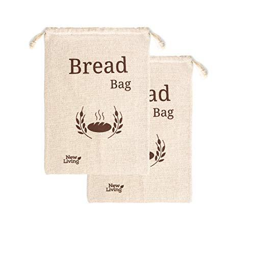 Extra große New Living Brottasche aus 100% Bio-Leinen | 44 x 35 cm | 2 x wiederverwendbare Brotbeutel | Lebensmittelaufbewahrungsbeutel | Brotbeutel | Öko-Brottasche
